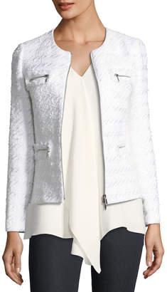 Lafayette 148 New York Emelyn Zip-Front Tweed Jacket