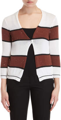 Peserico Striped Sequin Snap Cardigan