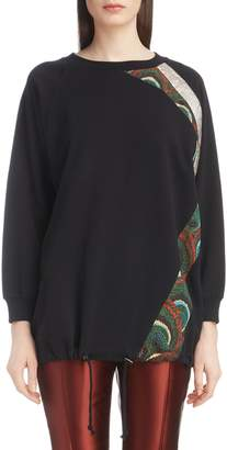 Dries Van Noten Metallic & Peacock Inset Sweatshirt