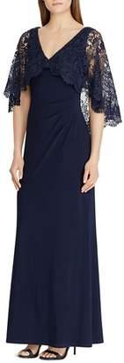 Ralph Lauren Lace-Overlay Jersey Gown