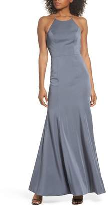 Jenny Yoo Naomi Luxe Crepe Halter Gown