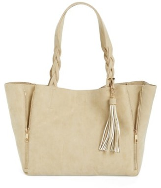 Bp. Faux Leather Braided Handle Tote - Beige $55 thestylecure.com