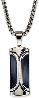 """Esquire Men's Jewelry Diamond Accent Dog Tag 22"""" Pendant Necklace, Created for Macy's"""