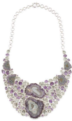 Made In India Sterling Silver Amethyst Bib Necklace