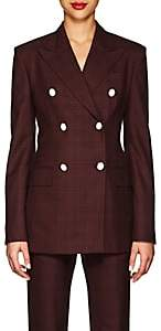 Calvin Klein Women's Plaid Wool-Silk Double-Breasted Blazer-Burgundy Black Red