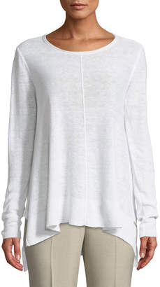 Donna Karan Long-Sleeve Side-Slit Linen Tee