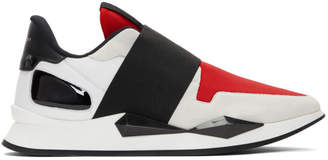 Givenchy Red and Black Elastic Strap Slip-On Sneakers