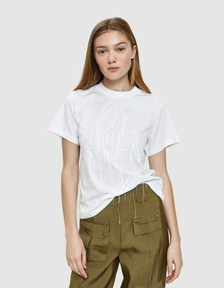 Carven Distressed Embroidered and Printed T-Shirt