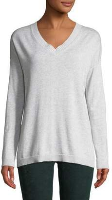 Lisa Todd Shine On Long-Sleeve Cotton Sweater w/ Sequin Elbows