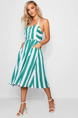 boohoo Sarah Halterneck Striped Midi Dress