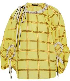 Derek Lam Bow-Detailed Embroidered Checked Cotton-Gauze Blouse