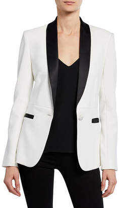 L'Agence Smoking Jacket with Contrast Lapels