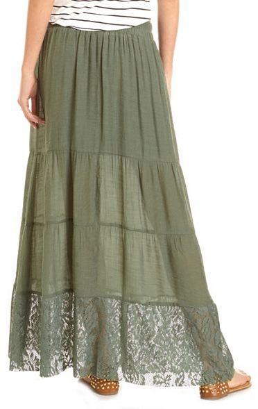 Charlotte Russe Lace Hem Gauzy Maxi Skirt