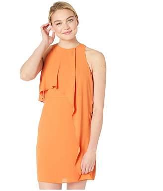 Halston Sleeveless High Neck Dress with Drape Overlay