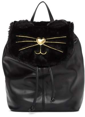 T-Shirt & Jeans Faux Fur Cat Backpack