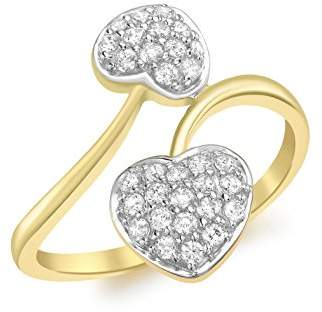 Carissima Gold 9 ct Yellow Gold Pave Set Cubic Zirconia Double Heart Ring - Size P