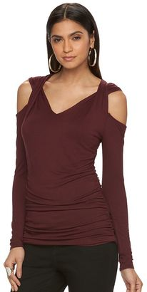 Women's Jennifer Lopez Ruched Cold-Shoulder Top $40 thestylecure.com