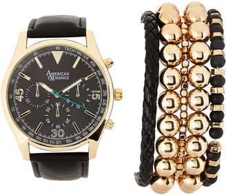 N. American Exchange MST5181G100 Gold-Tone & Black Watch