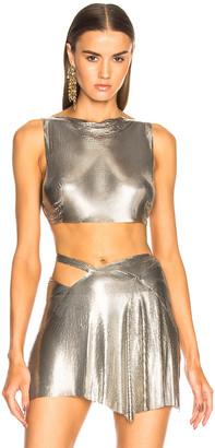 Fannie Schiavoni Mesh Crop Top in Silver | FWRD
