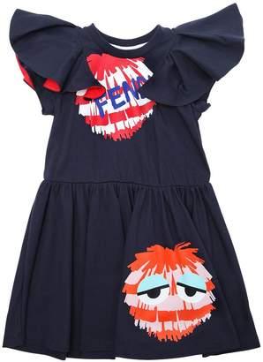 Fendi Pompom Cotton Jersey Short Sleeve Dress