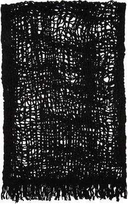 Yohji Yamamoto Black Wool Open Knit Stole $650 thestylecure.com