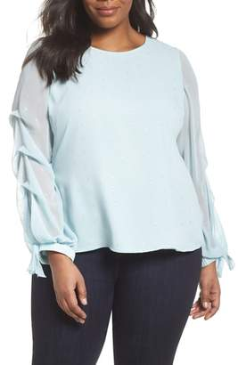 Vince Camuto Tiered Tie Cuff Chiffon Blouse