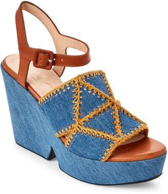 Robert Clergerie Dochett Denim Flatform Sandals