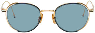 Thom Browne Navy and Gold TB-106 Sunglasses