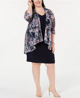 Connected Plus Size Lace Jacket Layered Dress