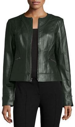 Neiman Marcus Collarless Zip-Front Lambskin Leather Jacket, Hunter Green $500 thestylecure.com