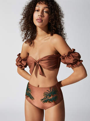 PatBO Solid Off-The-Shoulder Bikini Top