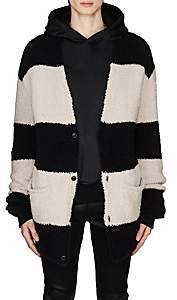 Amiri Men's Striped Wool-Blend Chenille Oversized Cardigan - Black