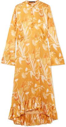 Mother of Pearl Oleta Ruffled Floral-print Silk-satin Maxi Dress - Yellow