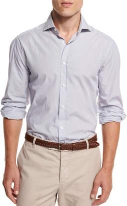 Brunello Cucinelli Mini-Stripe Button-Down Sport Shirt, White/Blue