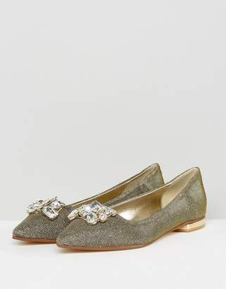 Dune Jewel Trim Suede Flat Shoe