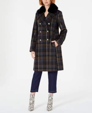 Vince Camuto Double-Breasted Plaid Coat with Faux-Fur-Collar