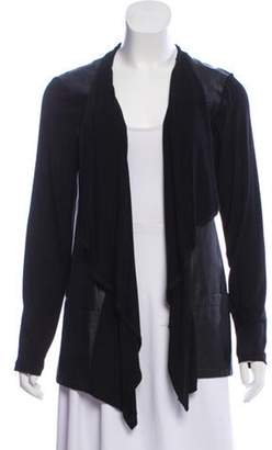 Neiman Marcus Faux Leather Open Front Cardigan Black Faux Leather Open Front Cardigan