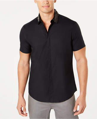 INC International Concepts I.n.c. Men's Sequin Collar Short Sleeve Woven, Created for Macy's