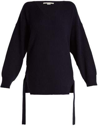 Stella McCartney Curved V-neck ribbed-knit cashmere-blend sweater