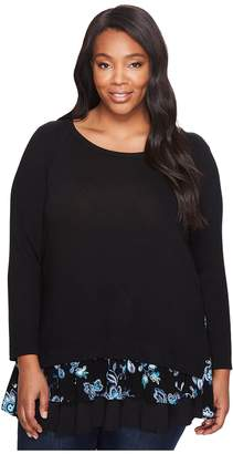 Karen Kane Plus Plus Size Embroidered Inset Sweater Women's Sweater
