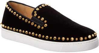 Christian Louboutin Pik Boat Velvet Slip-On Sneaker