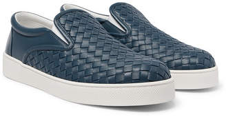 Bottega Veneta Dodger Intrecciato Leather Slip-On Sneakers - Blue
