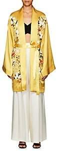 Alice Archer Women's Harmony Floral Silk Long Kimono - Yellow