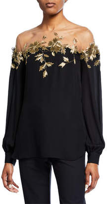 945b8ef2d1318 Oscar de la Renta Long-Sleeve Golden Leaf Illusion Blouse