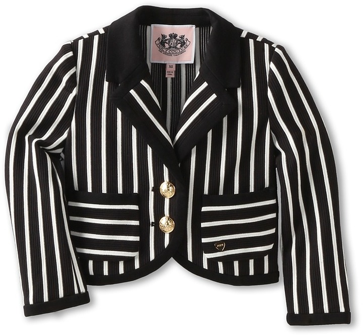 Juicy Couture Ottoman Stripe Blazer (Toddler/Little Kids/Big Kids) (Angel/Pitch Black) - Apparel