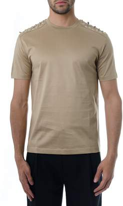 Les Hommes Cotton T-shirt Sand Leather Lace-up Details