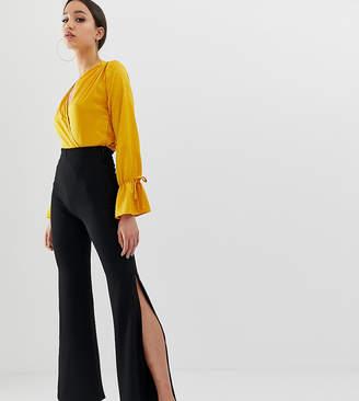891a48339a23 John Zack Tall wide leg trouser with side splits in black