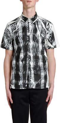 Neil Barrett Men's Distorted Tartan Short-Sleeve Sport Shirt