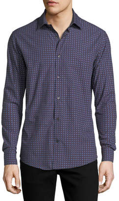 Salvatore Ferragamo Men's Gancini-Print Cotton Sport Shirt, Blue/Red