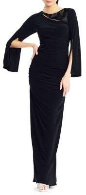 Adrianna Papell Split-Sleeve Long Jersey Dress